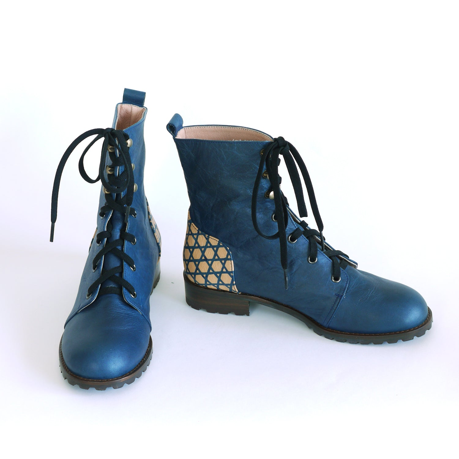Indigo Lace-Up Boots.  Hand built indigo Leather boots.  BASKET WEAVE.  Katazome indigo boots.