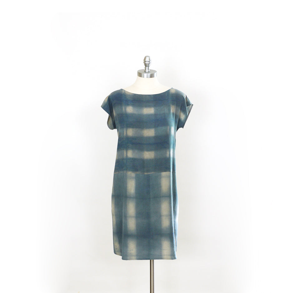 PLAID on PLAID.  Hand dyed Indigo dress.
