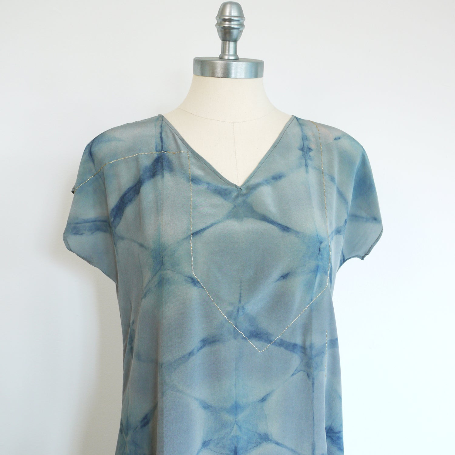 BLUE on Gray indigo embroidered silk dress.