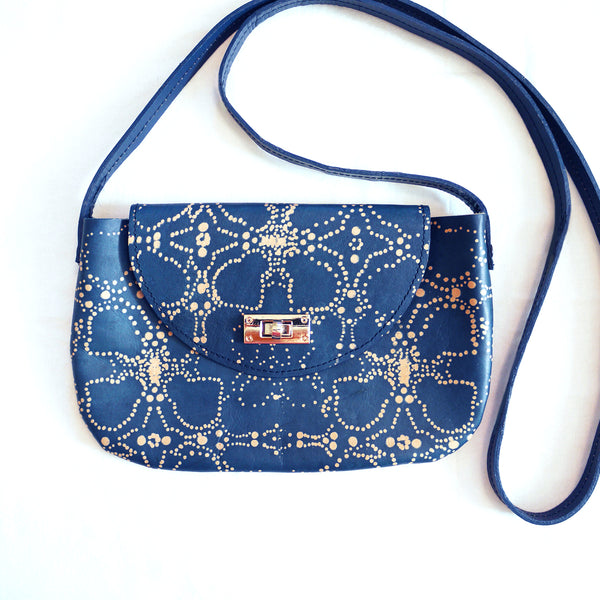 FLORA 01 indigo leather shoulder bag