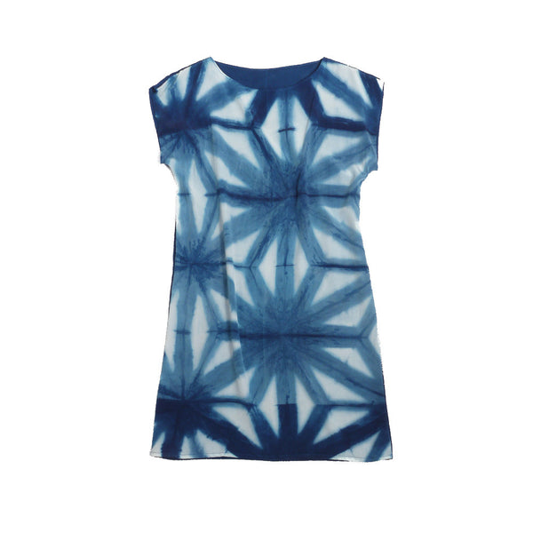 INDIGO HEMP LEAVES. indigo silk dress