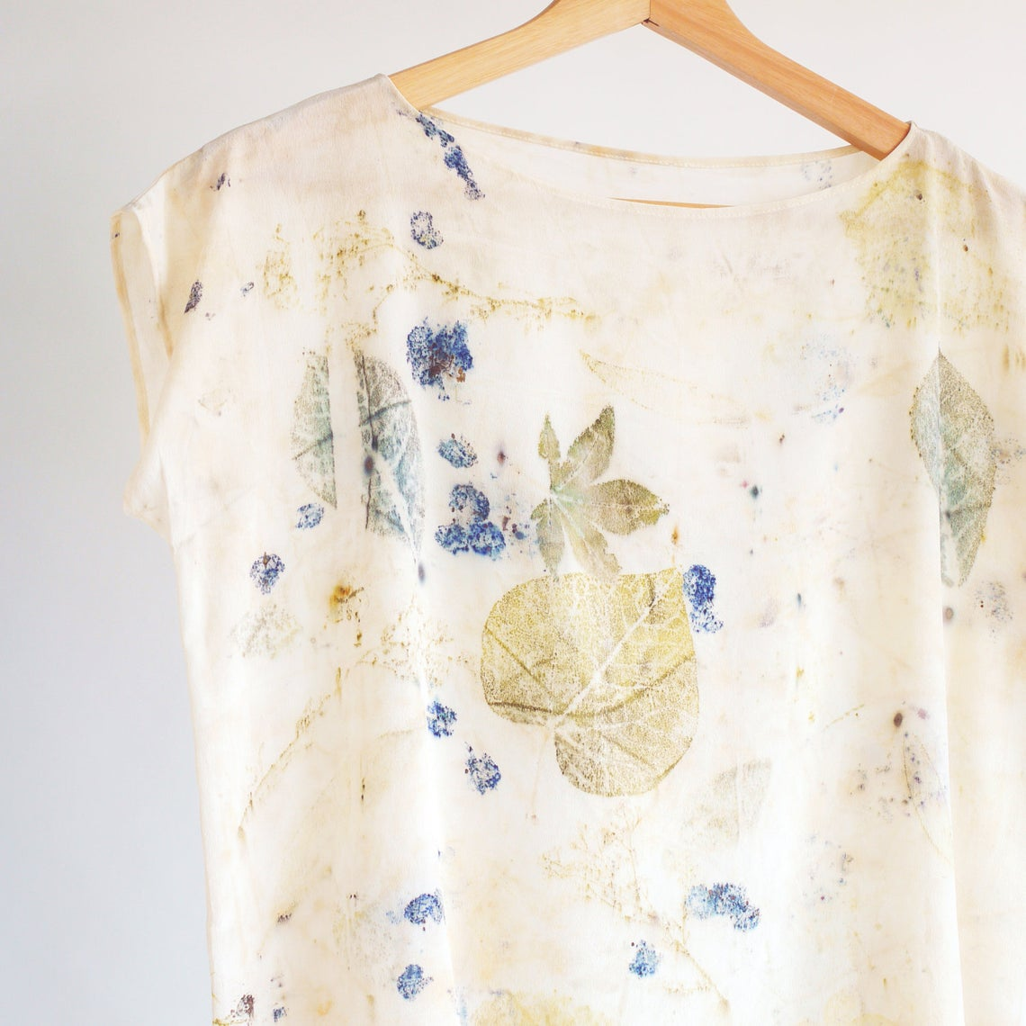 Leaf Print silk top. Eco print top, botanical natural dye silk top.