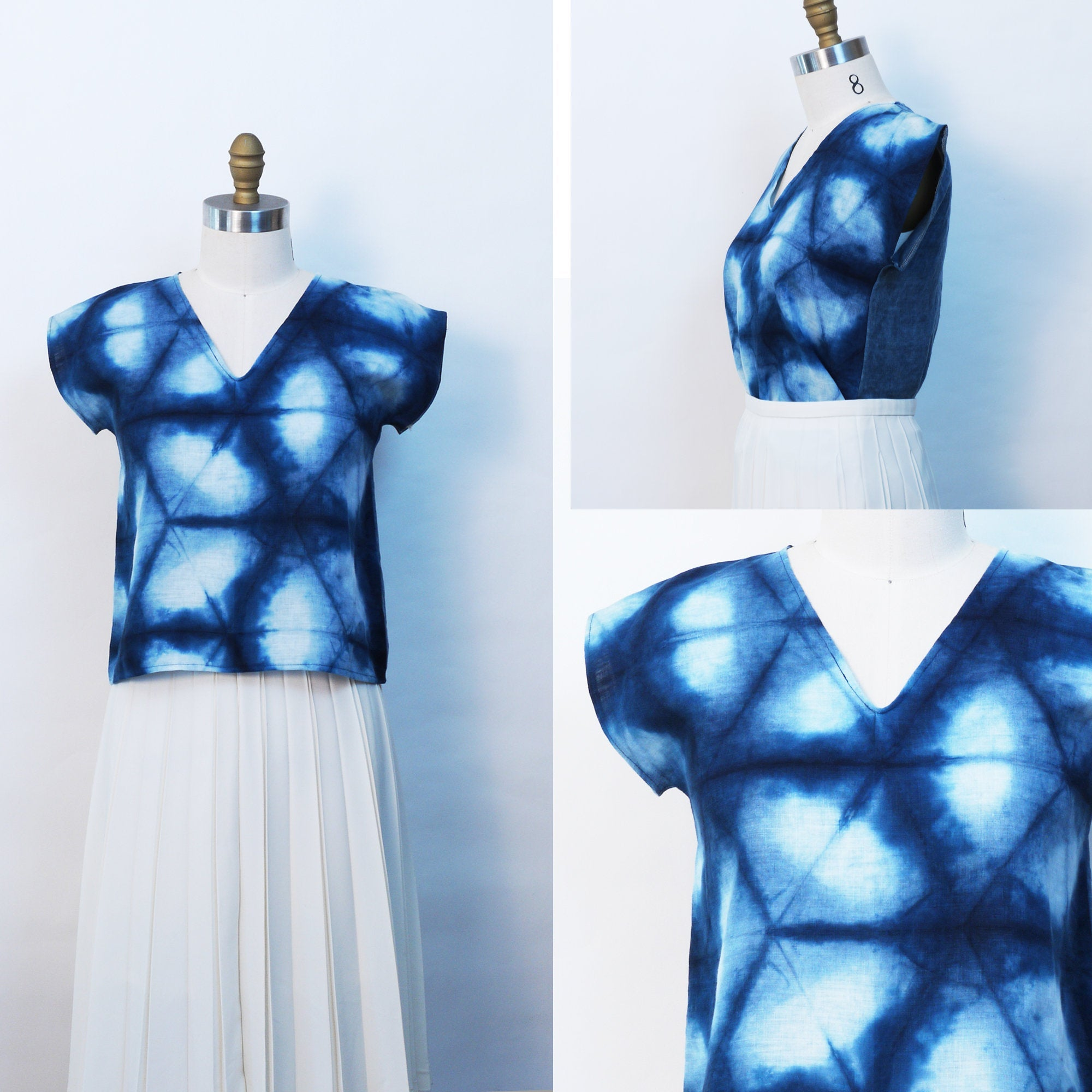 Indigo Shibori V-neck Top