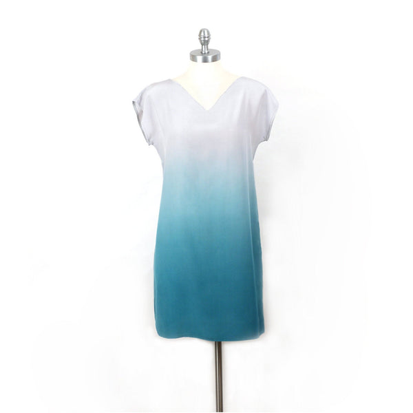Aqua Ombre Silk Dress.  Medium.  Sample, ready to ship.