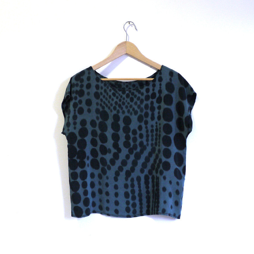 DOT DOT.  painted silk top