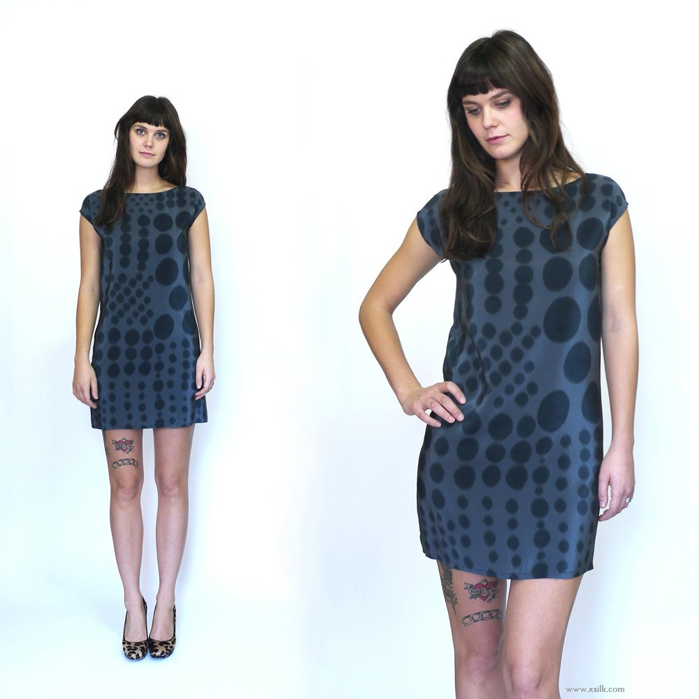 DOT DOT.  painted silk dress