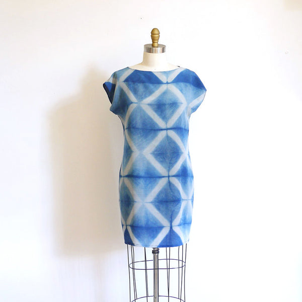 INDIGO DIAMOND. indigo silk dress