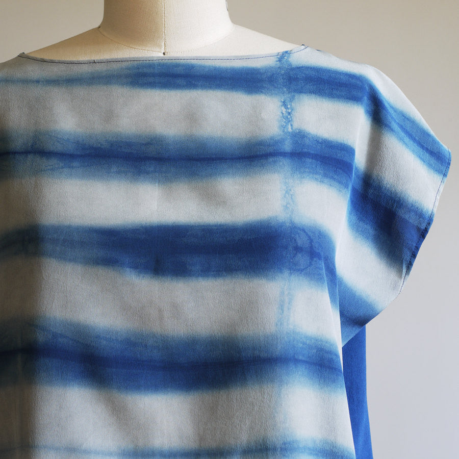 LINEAR. indigo dyed silk dress