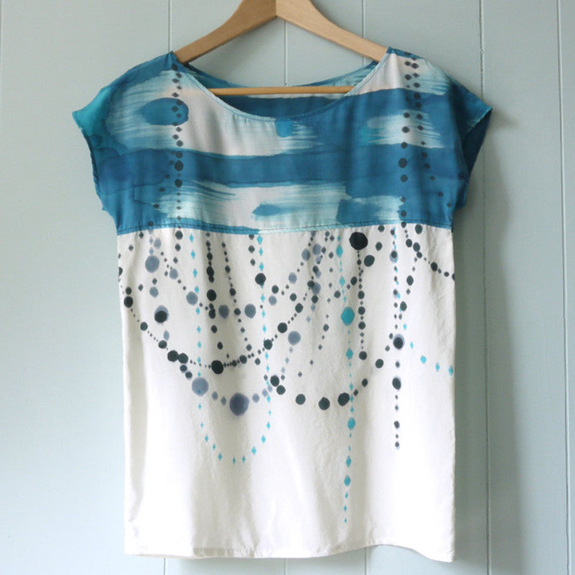INDIGO IKAT.  painted silk top