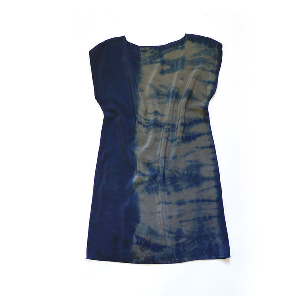 INDIGO TIE-DYE. indigo silk dress