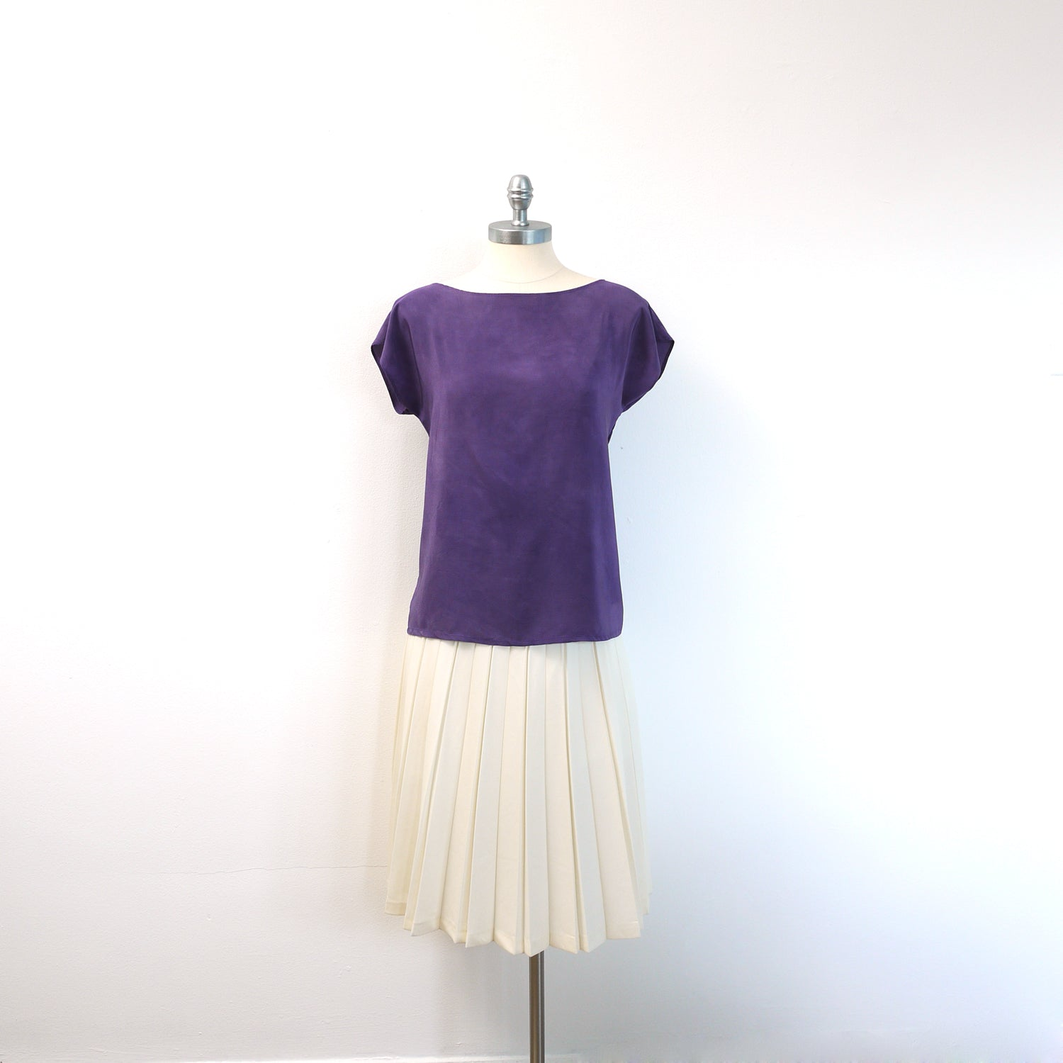 Grape silk top.  Natural dye - Logwood - silk blouse