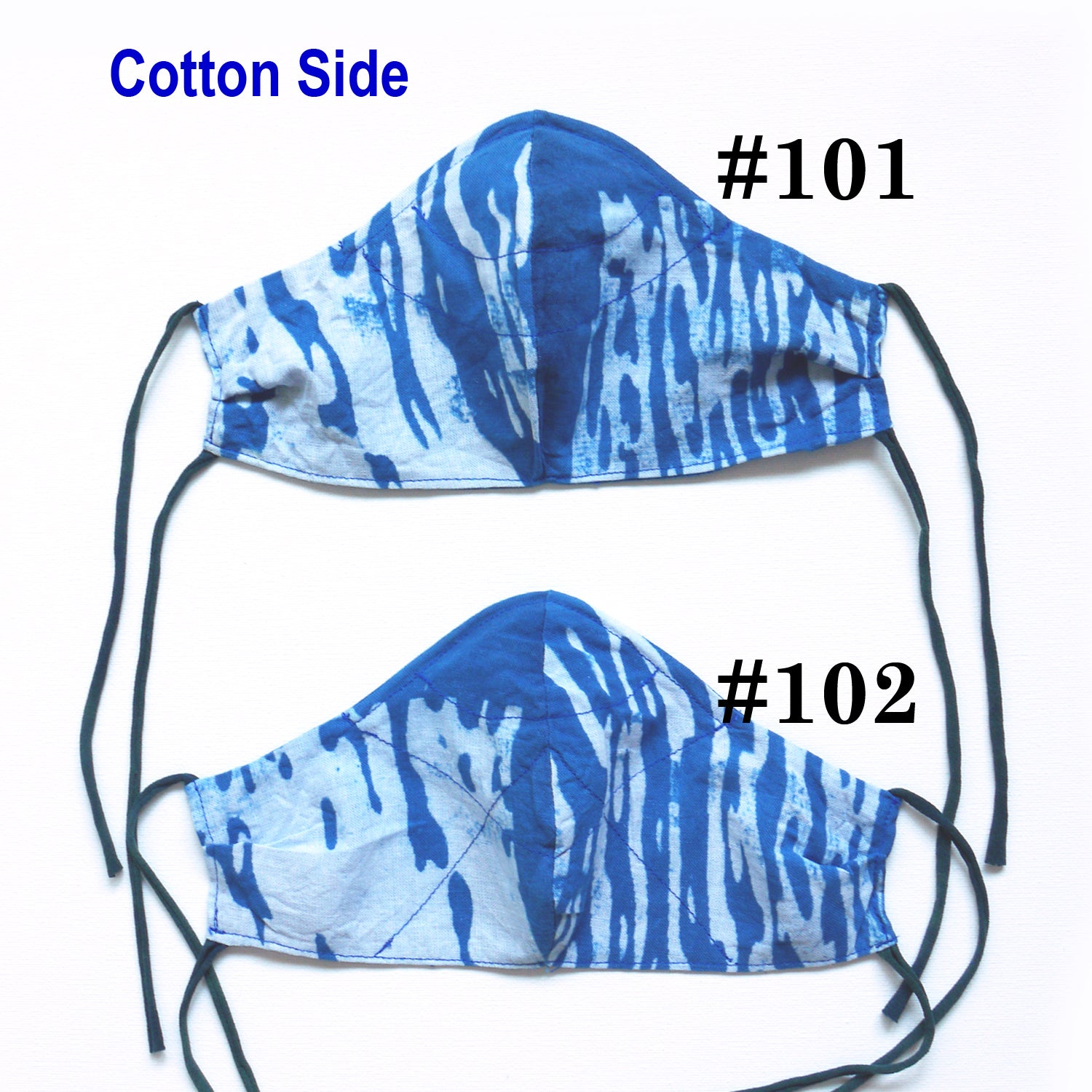 Face Mask, Indigo natural dye Silk/cotton mask with adjustable straps, reversible, nose wire for Sensitive skin. Handmade in the USA.