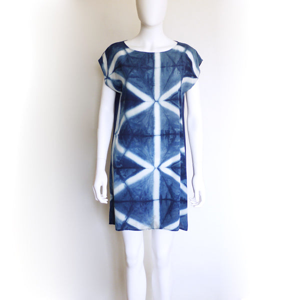 TRIANGLE indigo silk dress