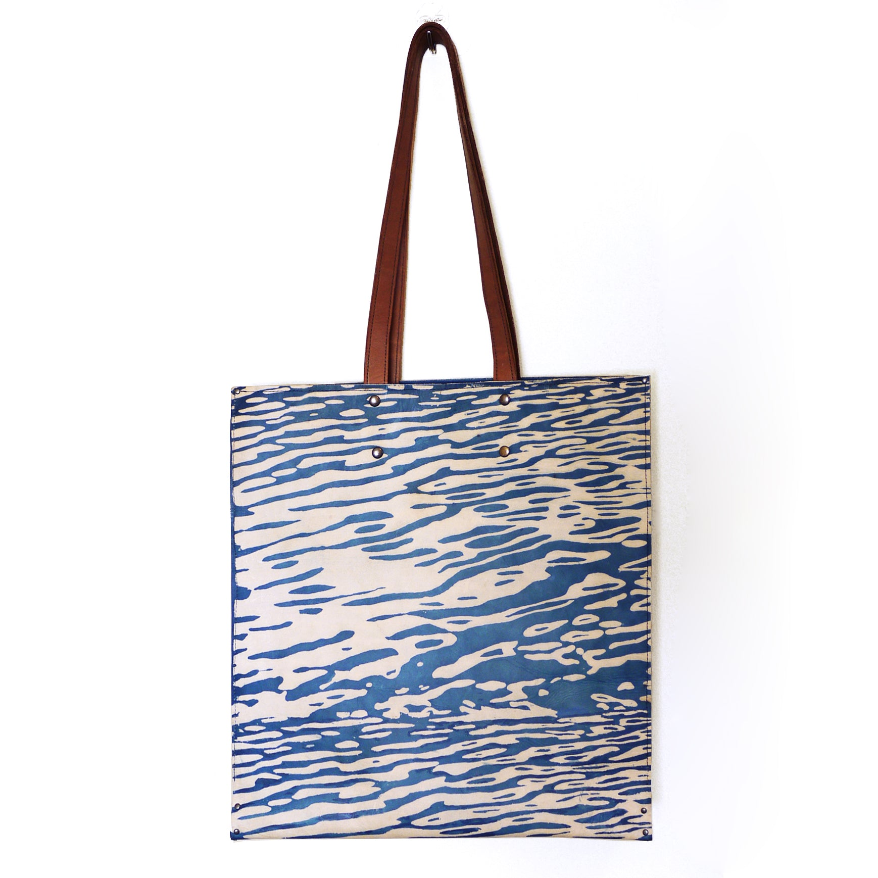 WATER 01 indigo leather tote bag, made to order.