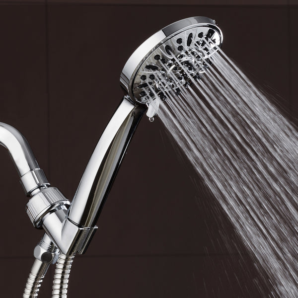 "AquaDance® 3316 High Pressure 6-Setting 4"" Chrome Face Handheld Shower with Hose for the Ultimate Shower Experience! Officially Independently Tested to Meet Strict US Quality & Performance Standards"