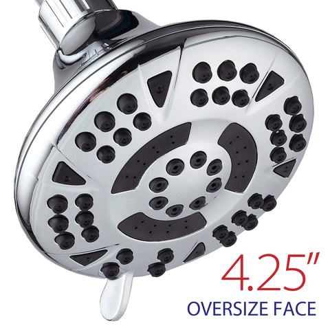AquaDance® 3302 Premium Shower Head featuring 4.15-inch Chrome Face and 6 Full Water Spray Settings