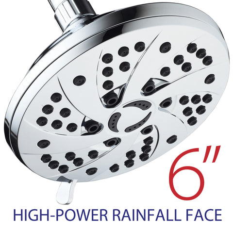 AquaDance® 3307 Premium Rainfall Shower Head featuring 6-inch Chrome Face and 6 Full Water Spray Settings