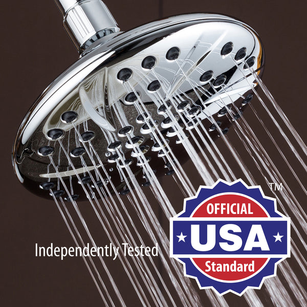 AquaDance® 3309 Large 6 inch Rainfall Shower Head by AquaDance • High Pressure •Premium Chrome Finish • Angle Adjustable • Easy To Clean • Independently Tested to Meet Strict US Quality & Performance Standards