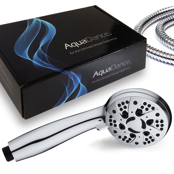 AquaDance® 3312 Premium Handheld Showerhead with Hose featuring 3.5-inch Chrome Face and 6 Full Water Spray Settings