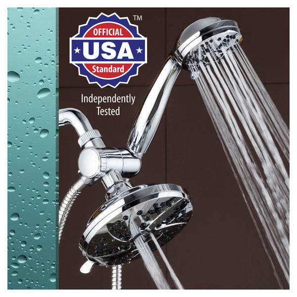 AquaDance 6-inch High Pressure 3-way Rainfall Shower Combo - Premium 6-Setting Rain Showerhead and 6-setting Hand Held Shower – Chrome Finish