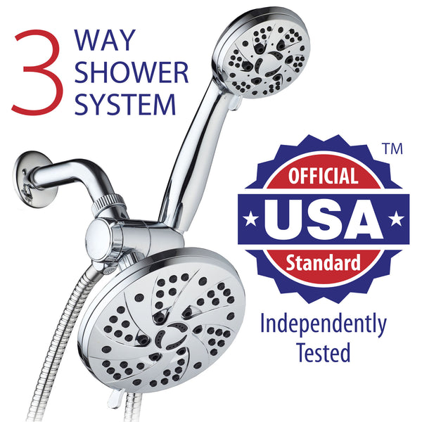 AquaDance® 3326 Ultra-Luxury 30-Setting 3-Way Shower Heads Combo featuring 6-Setting 6-inch Chrome Face Rain Shower Head and 6-Setting 3.5-Inch Chrome Face Handshower