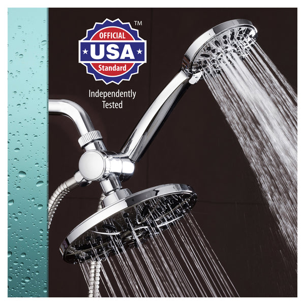 "AquaDance® 3327 7"" Premium High Pressure 3-way Rainfall Shower Combo Combines the Best of Both Worlds - Enjoy Luxurious Rain Showerhead and 6-setting Hand Held Shower Separately or Together!"