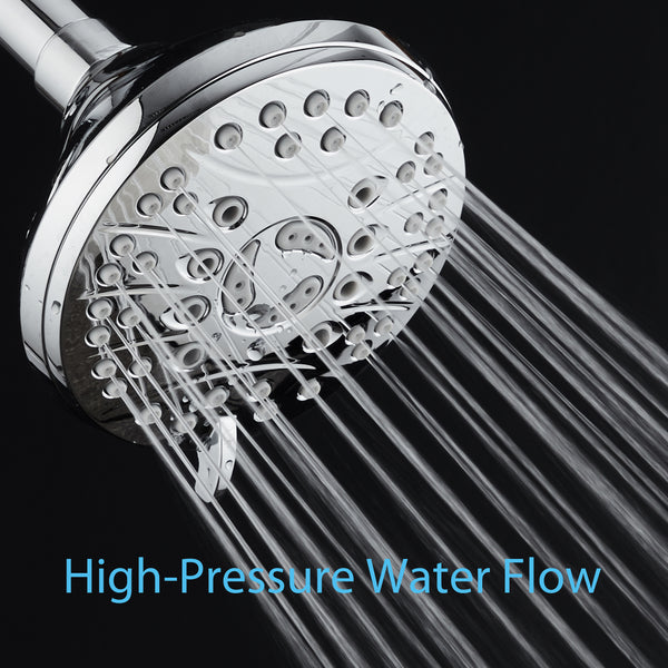 AquaSpa High Pressure 6-setting Luxury Rain Shower Head / Extra Large Face / Anti Clog Jets / Solid Brass Connection Ball Joint / Angle Adjustable / All Chrome Finish / Latest Design / Top US Brand