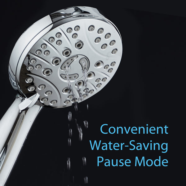 AquaSpa High Pressure 6-setting Luxury Handheld Shower Head / Extra Long 6 Foot Stainless Steel Hose / Extra Large Face / Anti Clog Jets / Brass Connection Nuts / All Chrome Finish / Top US Brand