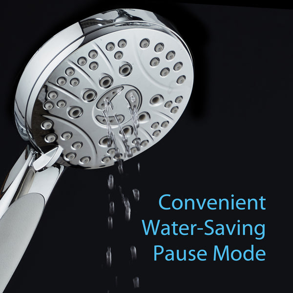 AquaSpa High Pressure 6-setting Luxury Handheld Shower Head / Extra Long 6 Foot Stainless Steel Hose / Anti Clog Jets / Anti Slip Grip / All Chrome Finish / Top US Brand / Includes Extra Wall Bracket