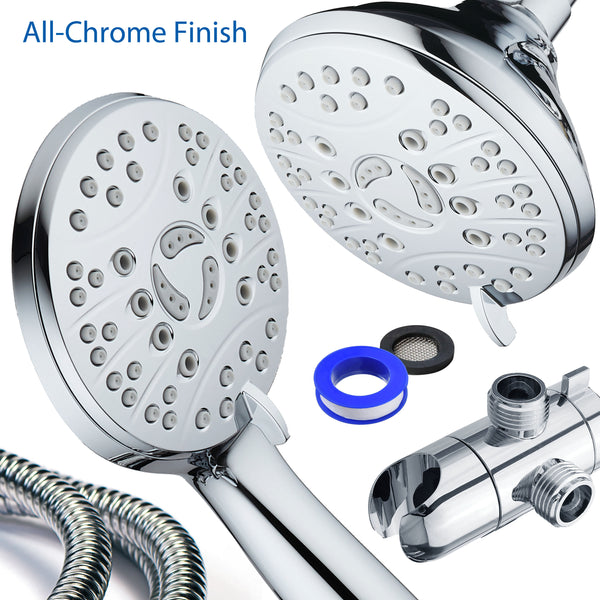 AquaSpa High Pressure 48-mode Luxury 3-way Combo / Dual Rain & Handheld Shower Head / Extra Long 6 Foot Stainless Steel Hose / Extra Large Face / Anti Clog Jets / All Chrome Finish / Top US Brand