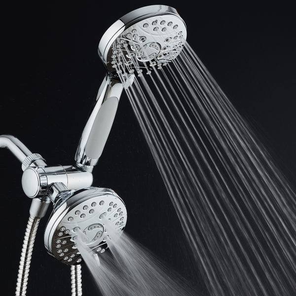 AquaSpa High Pressure 48-mode Luxury 3-way Combo / Dual Rain & Handheld Shower Head / Extra Long 6 Foot Stainless Steel Hose / Anti Slip Grip / All Chrome Finish / Top US Brand / Extra Wall Bracket