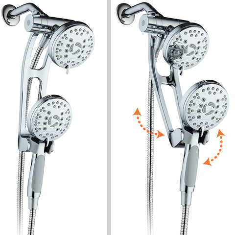AquaSpa High Pressure 48-mode Luxury 3-way Combo with Adjustable Extension Arm / Dual Rain & Handheld Shower Head / Extra Long 6 Foot Stainless Steel Hose / All Chrome Finish / Top US Brand
