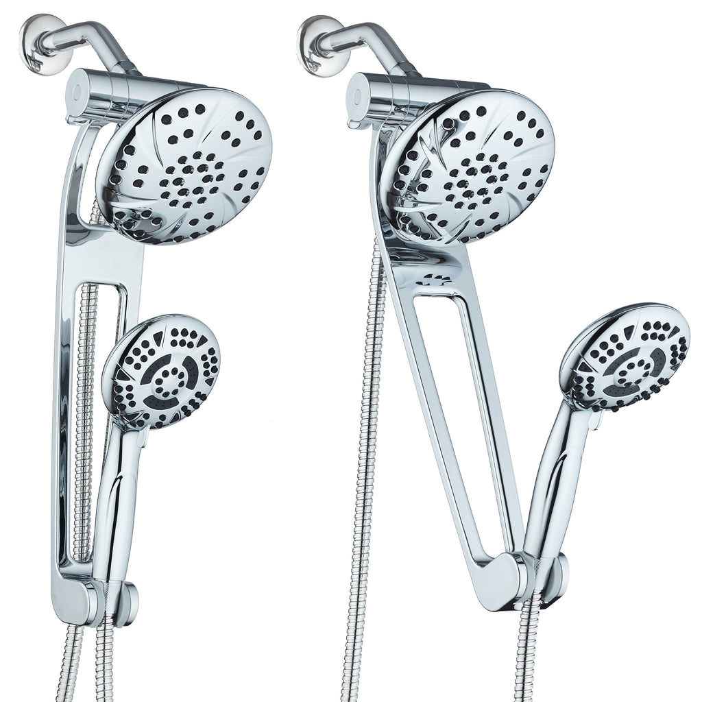 "AQUABAR by AquaDance® 3383 High-Pressure 3-way Shower Spa Combo with Adjustable 18"" Extension Arm for Easy Reach & Mobility! Enjoy Luxury 6"" Rain & Handheld Shower Head Separately or Together! All-Chrome Finish"