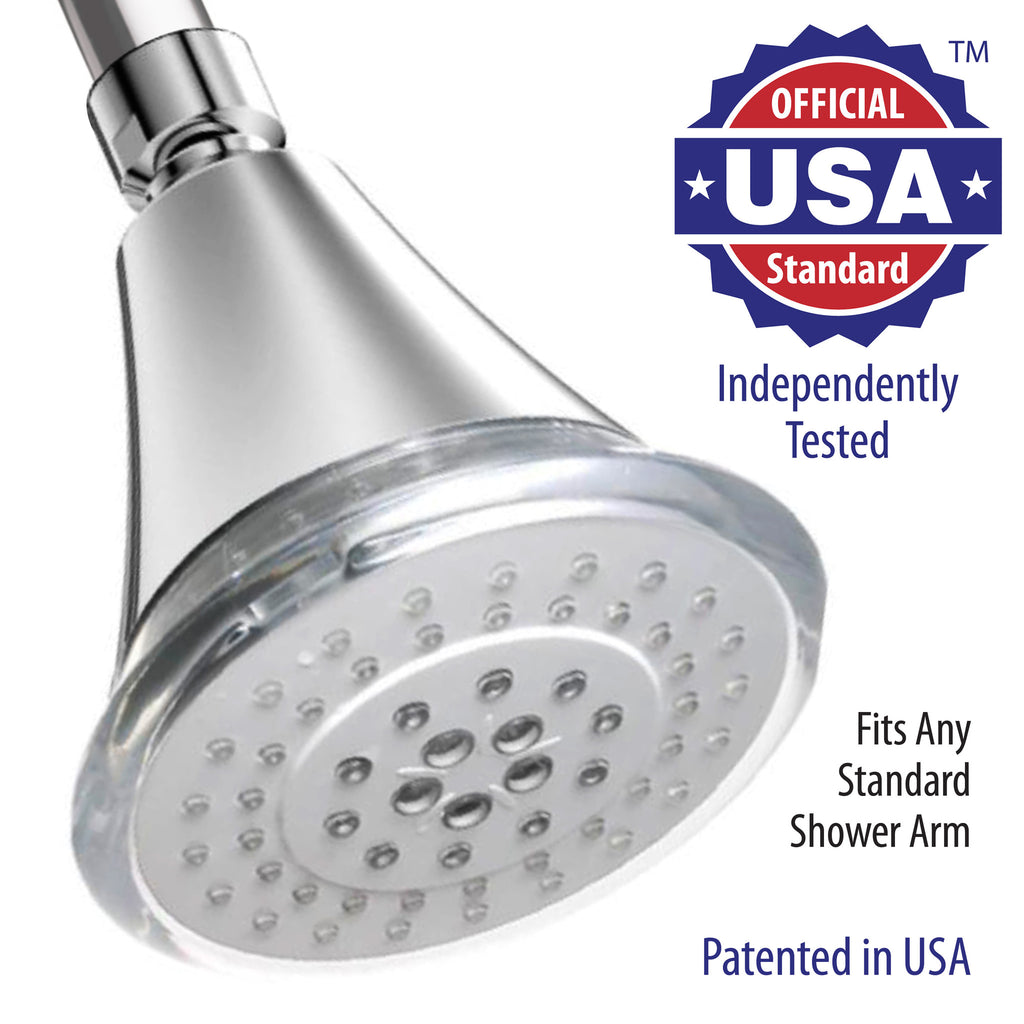 AquaDance® 1595 High-Pressure 5-Setting 7-Color LED Shower Head. Latest Modern Contemporary Sleek Design. Powered by Running Water, No Batteries Ever Needed!