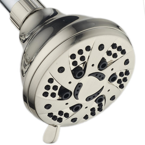 AquaDance® 4201 Brushed Nickel High Pressure 6-Setting Spiral Shower Head – Angle Adjustable, Anti-Clog Showerhead Jets, Tool-Free Installation – USA Standard Certified – Top U.S. Brand