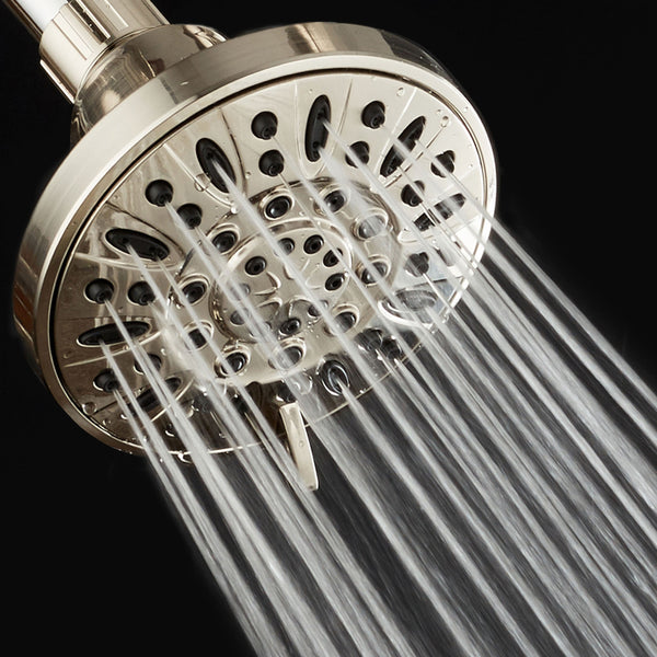 "AquaDance® 4205 Brushed Nickel High Pressure 6-Setting 4"" Shower Head – Angle Adjustable, Anti-Clog Showerhead Jets, Tool-Free Installation – USA Standard Certified – Top U.S. Brand"