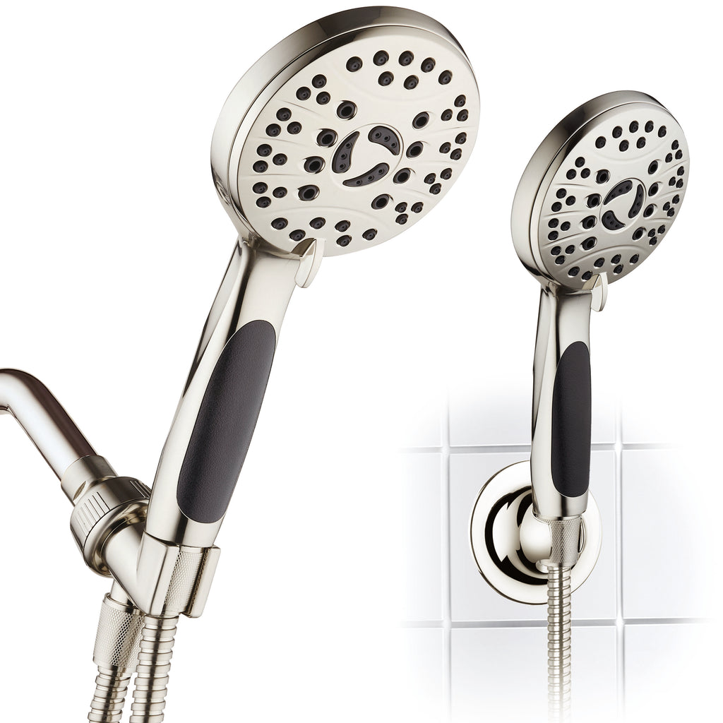AquaSpa by AquaDance® 4236 High Pressure 6-setting Luxury Handheld Shower Head – 6 Foot Stainless Steel Hose – Anti Clog Jets – Anti Slip Grip – All Brushed Nickel Finish – Top US Brand – Includes Extra Wall Bracket