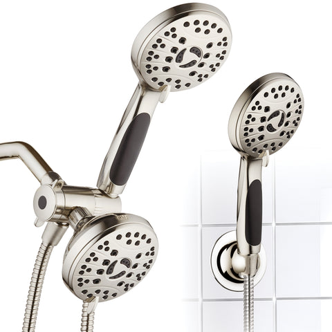 AquaSpa by AquaDance® 4247 High Pressure 48-mode Luxury 3-way Combo – Dual Rain & Handheld Shower Head – Extra Long 6 Foot Stainless Steel Hose – Anti Slip Grip – Brushed Nickel – Top US Brand – Extra Wall Bracket