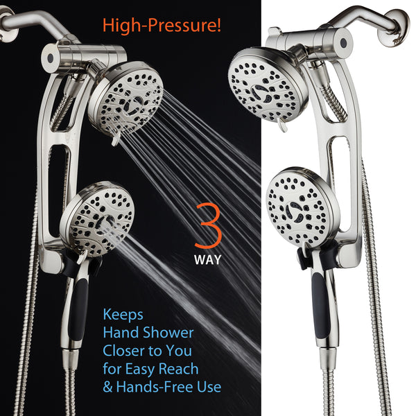 AquaSpa by AquaDance® 4248 High Pressure 48-mode Luxury 3-way Combo with Adjustable Extension Arm – Dual Rain & Handheld Shower Head – Extra Long 6 Foot Stainless Steel Hose – All Brushed Nickel Finish – Top US Brand