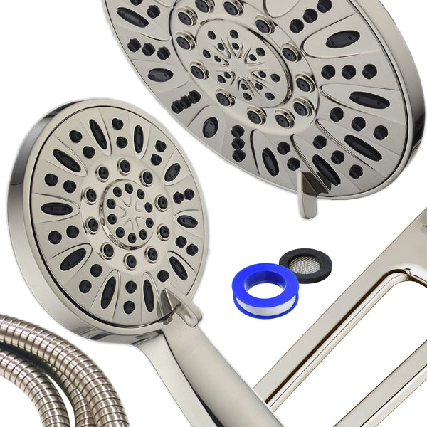 "AQUABAR High-Pressure 48-mode 3-way Shower Spa Combo with Adjustable 18"" Extension Arm for Easy Reach & Mobility! Enjoy Luxury 7"" Rain & Handheld Shower Head Separately or Together! Brushed Nickel"