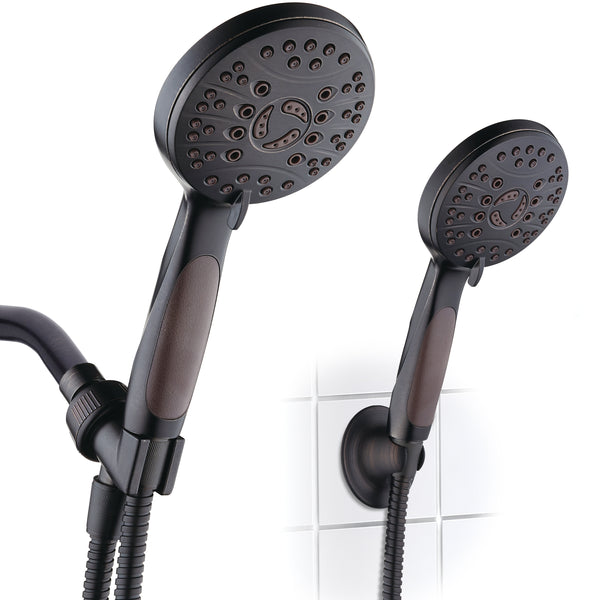 AquaSpa by AquaDance® 4336 High Pressure 6-setting Luxury Handheld Shower Head – 6 Foot Stainless Steel Hose – Anti Clog Jets – Anti Slip Grip – All Oil Rubbed Bronze Finish – Top US Brand – Includes Extra Wall Bracket