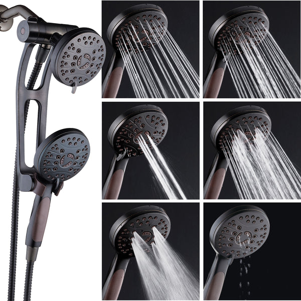 AquaSpa by AquaDance® 4348 High Pressure 48-mode Luxury 3-way Combo with Adjustable Extension Arm – Dual Rain & Handheld Shower Head – Extra Long 6 Foot Stainless Steel Hose – All Oil Rubbed Bronze Finish – Top US Brand