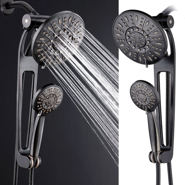"AQUABAR High-Pressure 48-mode 3-way Shower Spa Combo with Adjustable 18"" Extension Arm for Easy Reach & Mobility! Enjoy Luxury 7"" Rain & Handheld Shower Head Separately or Together! Oil-Rubbed Bronze"