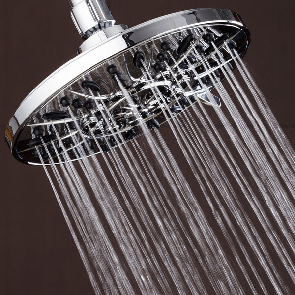 AquaDance® 3308 Premium Rainfall Shower Head featuring 7-inch Chrome Face and 6 Full Water Spray Settings