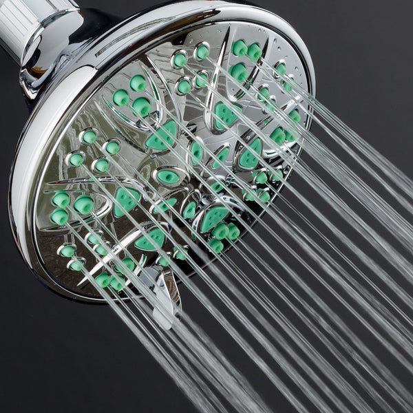 AquaDance® 5502 Antimicrobial/Anti-Clog High-Pressure 6-setting Shower Head by AquaDance with Microban Nozzle Protection from Growth of Mold, Mildew & Bacteria for Stronger Shower! Aqua Green