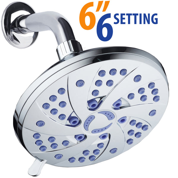 AquaDance® 5509 6-inch 6-Setting Rainfall Showerhead with Anti-Microbial Microban Protection from Mold, Mildew, and Bacteria - Clog-Free Sunset Blue Jets, Chrome Finish