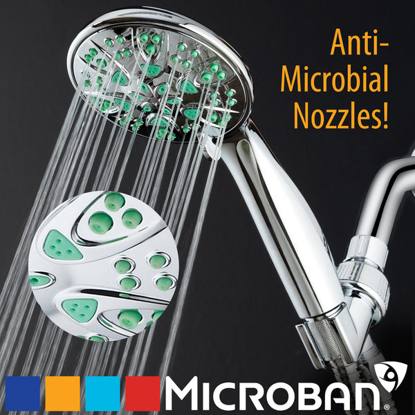 AquaDance® 5512 Antimicrobial / Anti-Clog / High-Pressure 6-setting Hand Shower with Microban® Nozzle Protection from Growth of Mold, Mildew & Bacteria for Cleaner & Stronger Shower!  Aqua Green