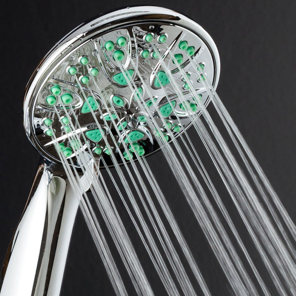 "AquaDance® 5512 Antimicrobial/Anti-Clog High-Pressure 6-Setting Hand Microban Nozzle Protection from Growth of Mold, Mildew & Bacteria for Stronger Shower 3 Jet Color Choices, 4"" Aqua Green"