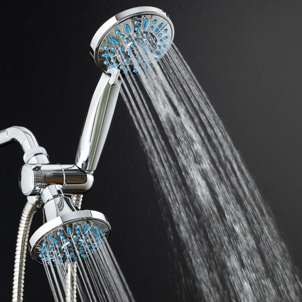 AquaDance® 5523 Antimicrobial/Anti-Clog High-Pressure 30-setting Shower Combo by AquaDance with Microban Nozzle Protection from Growth of Mold Mildew & Bacteria for Stronger Shower! Aqua Blue