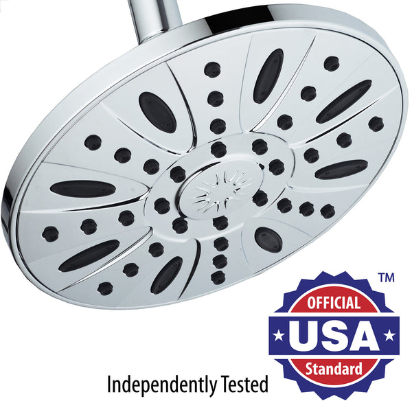 AquaDance® 3370 Chrome Finish 28'' Drill-Free Stainless Steel Slide Bar Combo with 7'' Rain Showerhead, 6-setting Hand Shower and Revolutionary Low-Reach 3-way Diverter For Easy Reach. Dual Shower Head Spa System